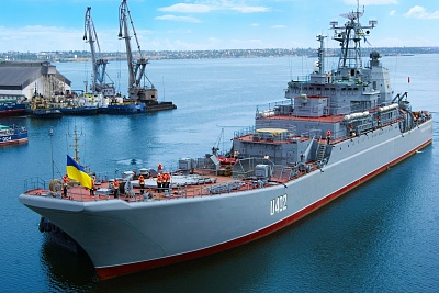 Konstantin Olshansky large landing ship (LLS) of the Naval Forces of Ukraine enters the shipyard's water area for repair