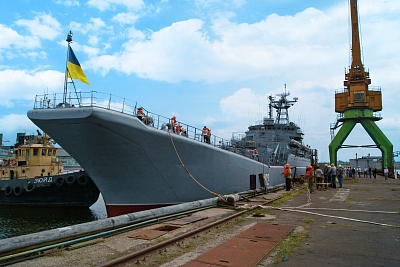 Konstantin Olshansky large landing ship (LLS) of the Naval Forces of Ukraine is mooring to the quay