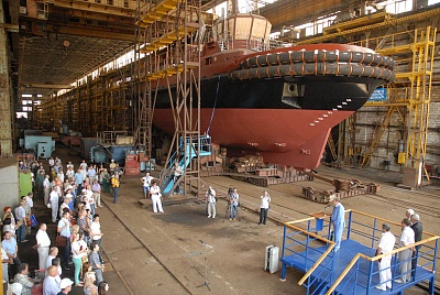 In the shipyard's workshop. Float-out of ORION towboat built for АS PKL Flote (Latvia)