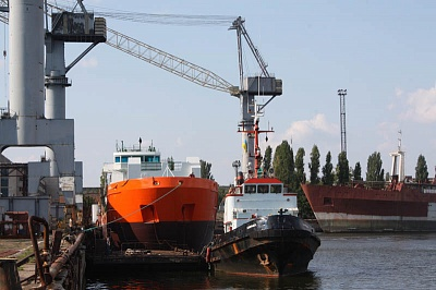 Departure of the ship built in the yard for Damen Shipyards Bergum (the Netherlands)