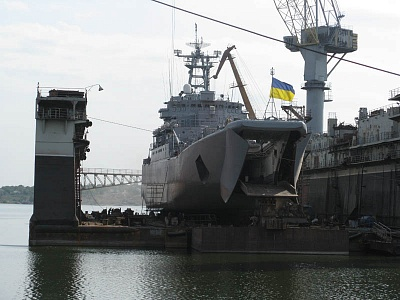 Konstantin Olshansky large landing ship (LLS) of the Naval Forces of Ukraine during repair in the shipyard's dock