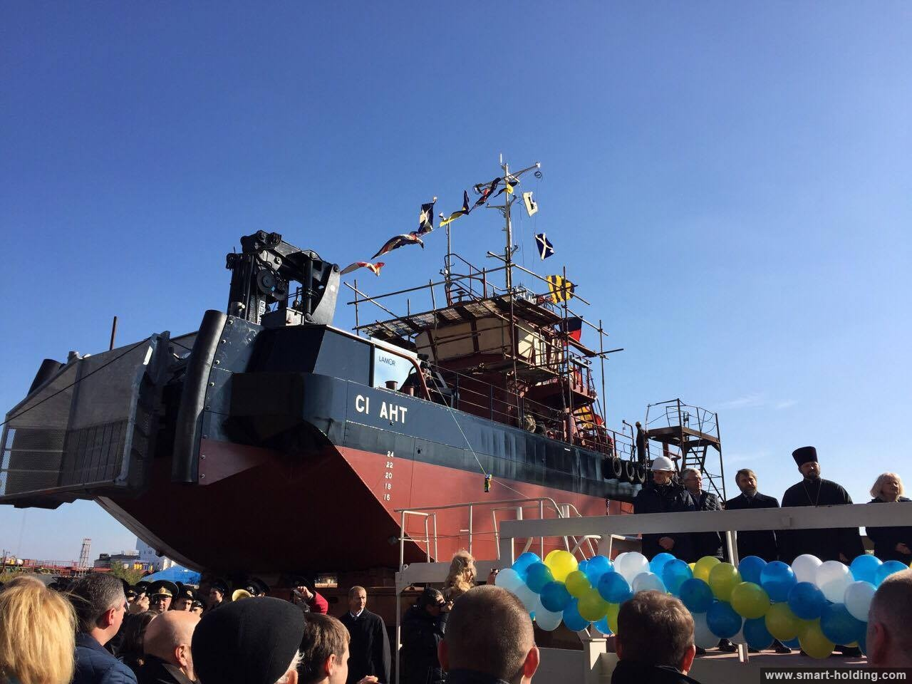 Kherson Shipyard Floats Out Oil Garbage Disposal Vessel for Yuzhny Port
